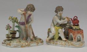 (2) Meissen Porcelain Cherubs, Marked