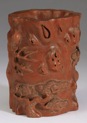 """Chinese Carved Brush Pot, 6""""h."""