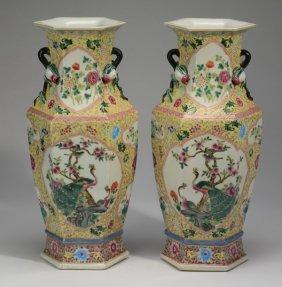 "(2) Large Chinese Famille Jaune Vases, 18""h"