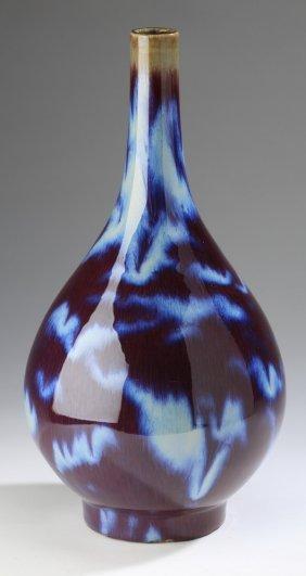 """Chinese Flambe' Glazed Bottle Neck Vase, 16""""h"""