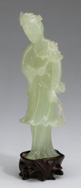 "Chinese Jade Carving, Lady He Xiangu, 6""h"