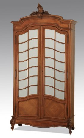 """19th C. French Carved Walnut Armoire, 90""""h"""