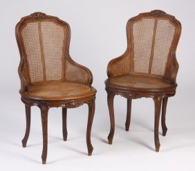 (2) Late 19th C. French Walnut Chairs