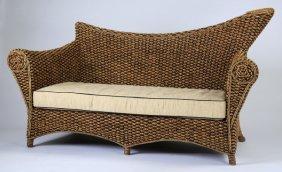 "Modern Woven Water Hyacinth Sofa, 70""l"