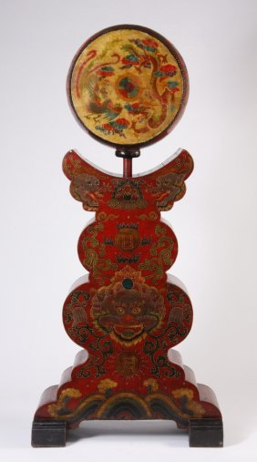 Chinese Hand Painted Drum On Stand