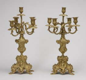 "(2) 19th C. Gilt Bronze Candelabra, 20""h"