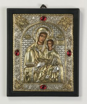"Greek Orthodox Icon Of Theotokas, 11""h"