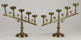 (2) Gothic Revival Style Brass Candelabra