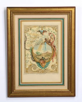 """19th C. French Hand Colored Engraving, 19""""h"""