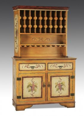 """Paint-decorated Buffet, With Wine Rack, 80""""h"""