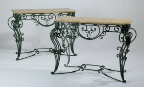 """(2) Wrought Iron Marble Top Consoles, 48""""w"""
