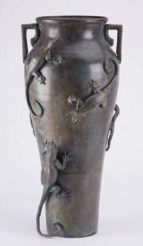 Patinated Bronze Vase W/ Applied Lizards, 24""