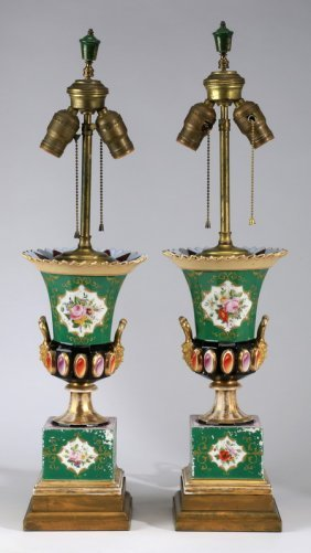 "(2) Porcelain Vases Mounted As Lamps, 26""h"