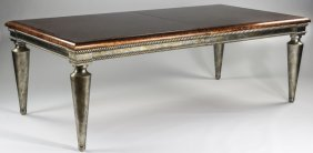 Silver Gilt, Burlwood Dining Table W/leaves