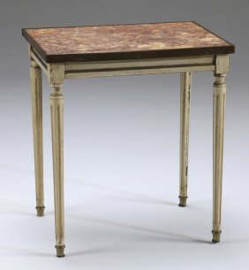Petite Paint Decorated Marble Top Side Table