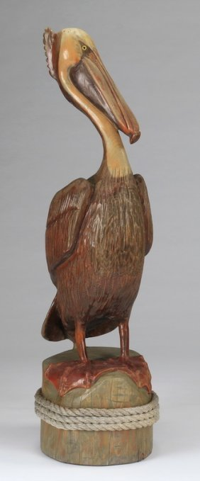 """Carved Pelican Scupture, 49""""h"""