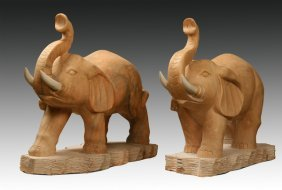 """Pair Of Hand Carved Marble Elephants. 33""""h"""
