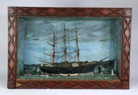 """Nautical Diorama In A Tramp Art Frame, 28""""h"""