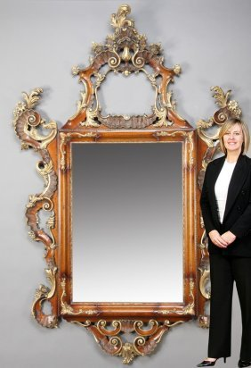 "Monumental Carved Mahogany Mirror, 90""h"