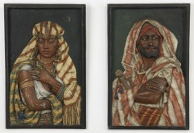 (2) 19th C. Orientalist Panels By Hottot, 25""
