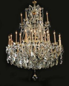 "Czech Crystal Chandelier, 36-lights, 60""h"