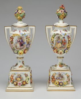 "(2) 19th C. Dresden Lidded Urns, Marked, 19""h"