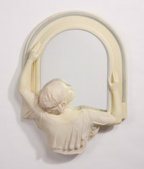 Art Deco Inspired Figural Sculpture W/ Mirror