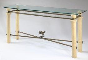 "Contemporary Glass Top Console Table, 70""l"