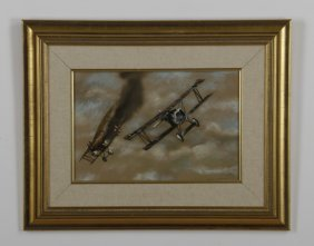 Robert Fade Signed Oil On Canvas, Biplanes