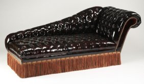 Chesterfield Style Chaise In Faux Leather