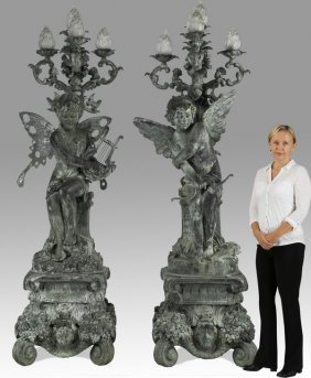 "(2) Rococo Style Bronze Torchieres, 92""h"