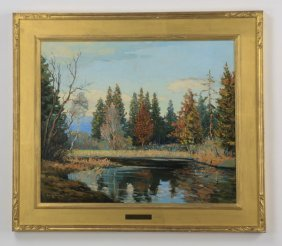 Walter Koeniger O/c Of Autumn Scene, Signed