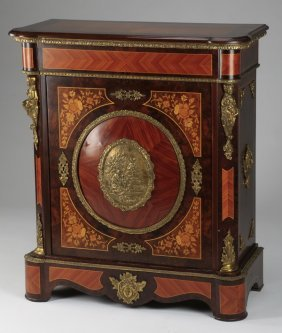 """Marquetry Inlaid Bronze Mounted Cabinet, 34""""w"""
