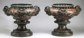 Pair Of Louis Xv Style Bronze, Marble Basins