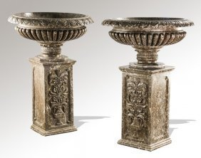 (2) Grecian Style Marble Basins On Pedestals