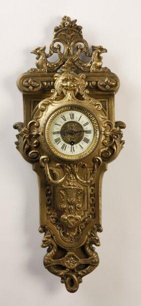 19th C. French Gilt Bronze Cartel Clock