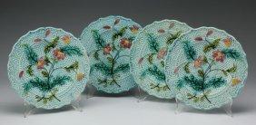 (4) Sarreguemines Majolica Floral Plates