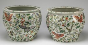 "(2) Chinese Fishbowls W/ Butterflies, 14""w"