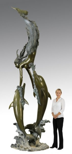 "Bronze Sculpture Mermaid And Dolphins, 140""h"
