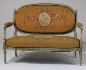 Early 20th C. French Settee In Needlepoint