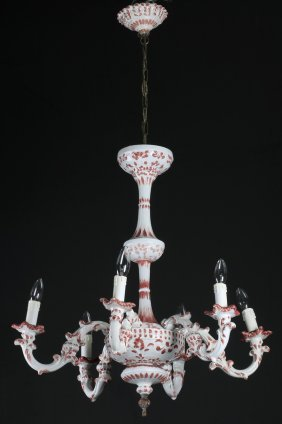 "French Porcelain 6-arm Chandelier, 42""h"