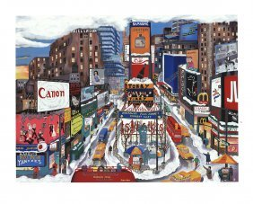 Linnea Pergola - Times Square In The Snow -signed