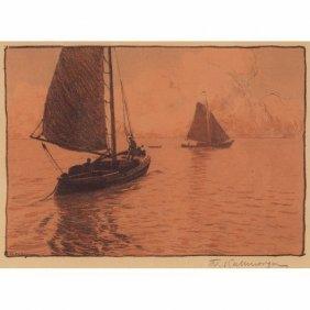 "Friedrich Kallmorgen ""Two Boats,"" C. 1910, Color L"