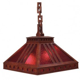Arts And Crafts Hanging Fixture, Cut-out Pyramidal S