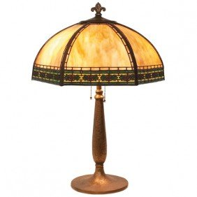 Handel Table Lamp, Six Sided Shade With Caramel Slag
