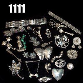 Vintage Sterling Pins, Bracelets, Many Marked