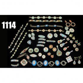 Vintage Micro Mosaic Jewelry, Earrings, Pins And