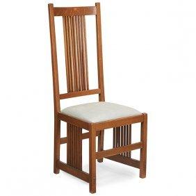 "Gustav Stickley High Back Spindle Side Chair, #384 19""w"