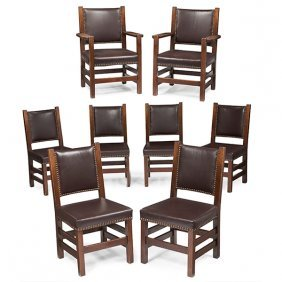 Gustav Stickley Dining Chairs, Set Of Eight: Six Side