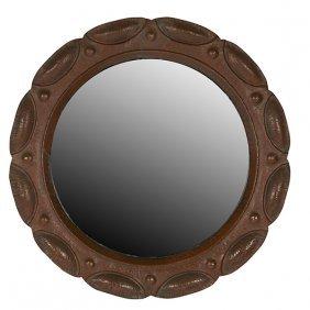 """American Arts & Crafts Mirror 21.75""""dia"""